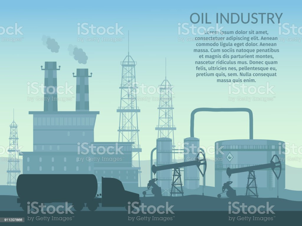 Industria de plataforma de petróleo vector de procesamiento infografía gasolina y transporte set elementos de producción. - ilustración de arte vectorial