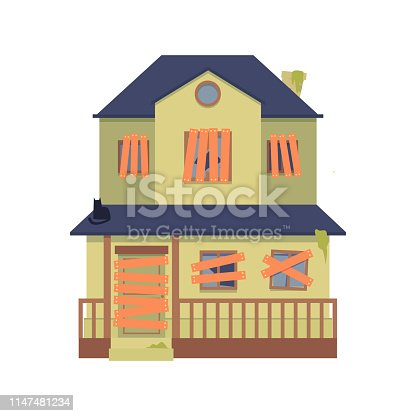Old abandoned green house with boarded up windows, a door in flat cartoon style. Isolated vector illustration on white background. Flat two-storey, double decker house, cottage with fence.