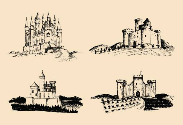 vector old castles illustrations set. hand drawn architectural landscapes of ancient towers with rural fields and hills. - castle stock illustrations