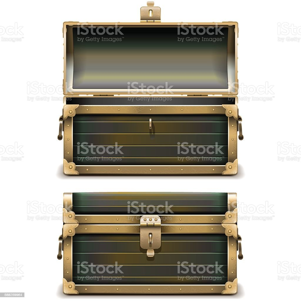 Vector Old Chest vector art illustration