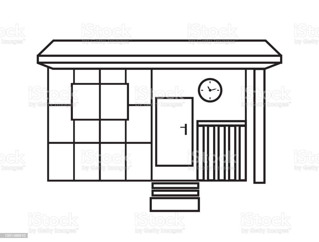 Vector old garden shed in contour vector art illustration
