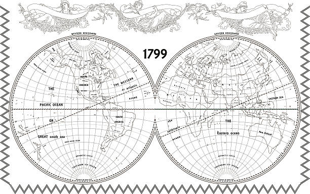stockillustraties, clipart, cartoons en iconen met vector old globe with nymphs - 18e eeuw