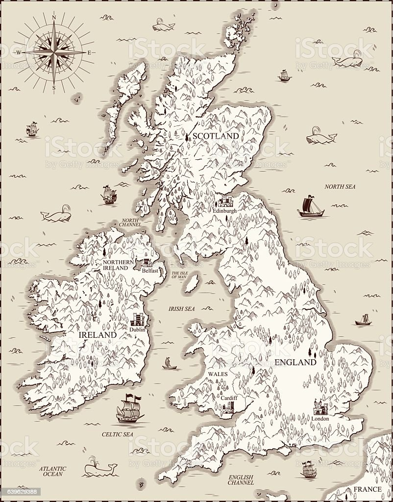 Vector old map, Great Britain ベクターアートイラスト