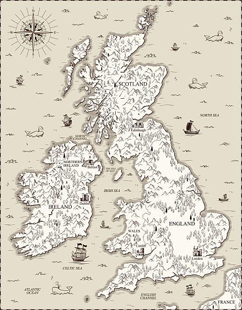vector old map, great britain - ビンテージの地図点のイラスト素材/クリップアート素材/マンガ素材/アイコン素材