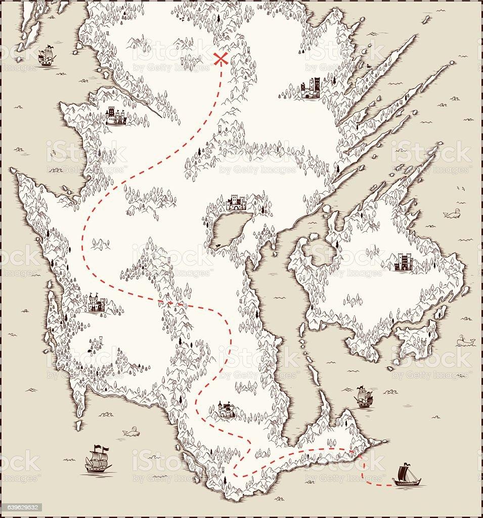 Vector old map, pirate treasure ベクターアートイラスト