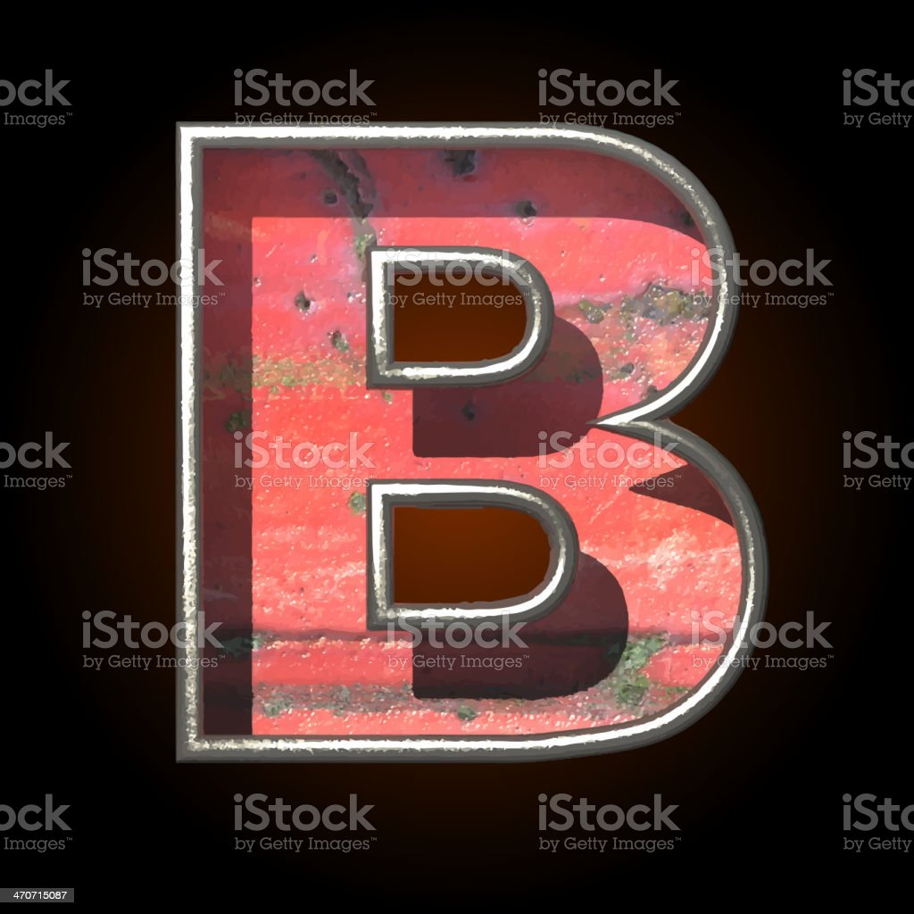 Vector old metal letter b royalty-free stock vector art