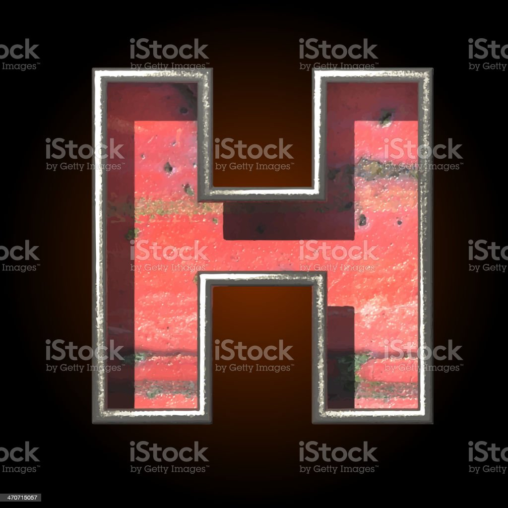 Vector old metal letter h royalty-free stock vector art