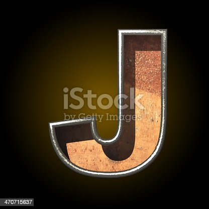 Vector Old Metal Letter J stock vector art