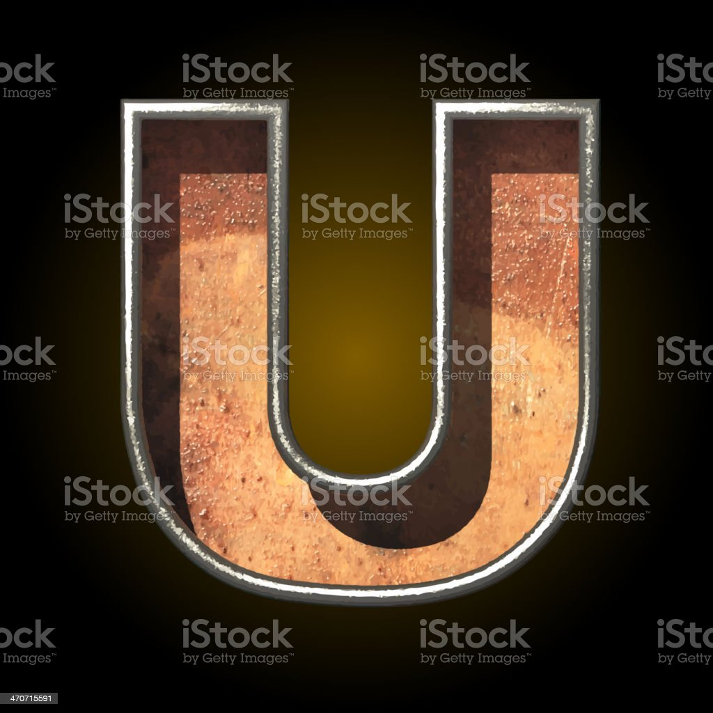 Vector old metal letter u royalty-free stock vector art