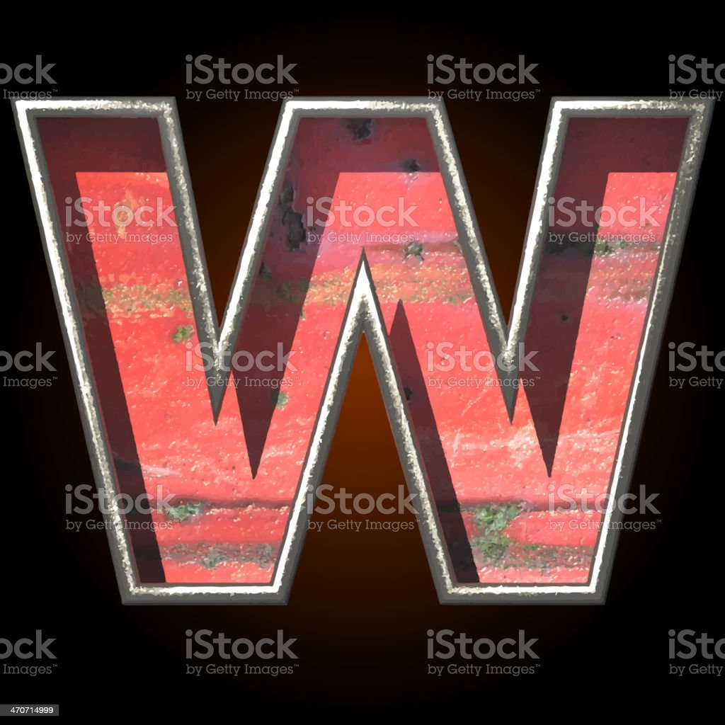 Vector old metal letter w royalty-free vector old metal letter w stock vector art & more images of abstract