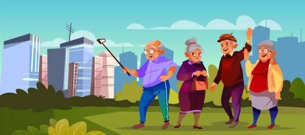 vector old people with selfie stick, pensioners - old man pic cartoons stock illustrations, clip art, cartoons, & icons