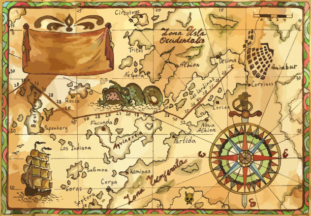 Vector old pirate map with winds rose, sailboat, sea monster and banner vector art illustration