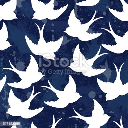 Vector old school seamless pattern with birds