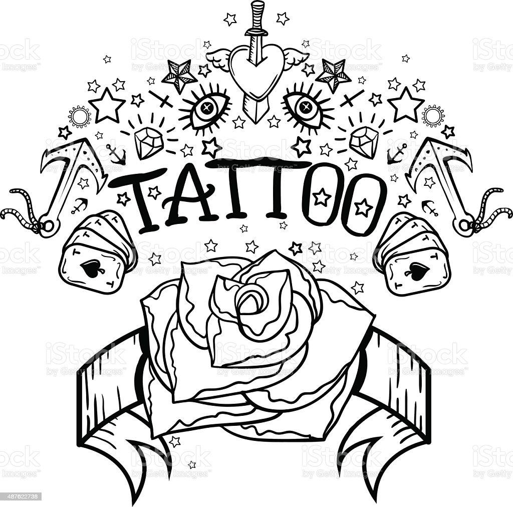 Ilustración De Vector Old School Tatuaje Blanco Y Negro