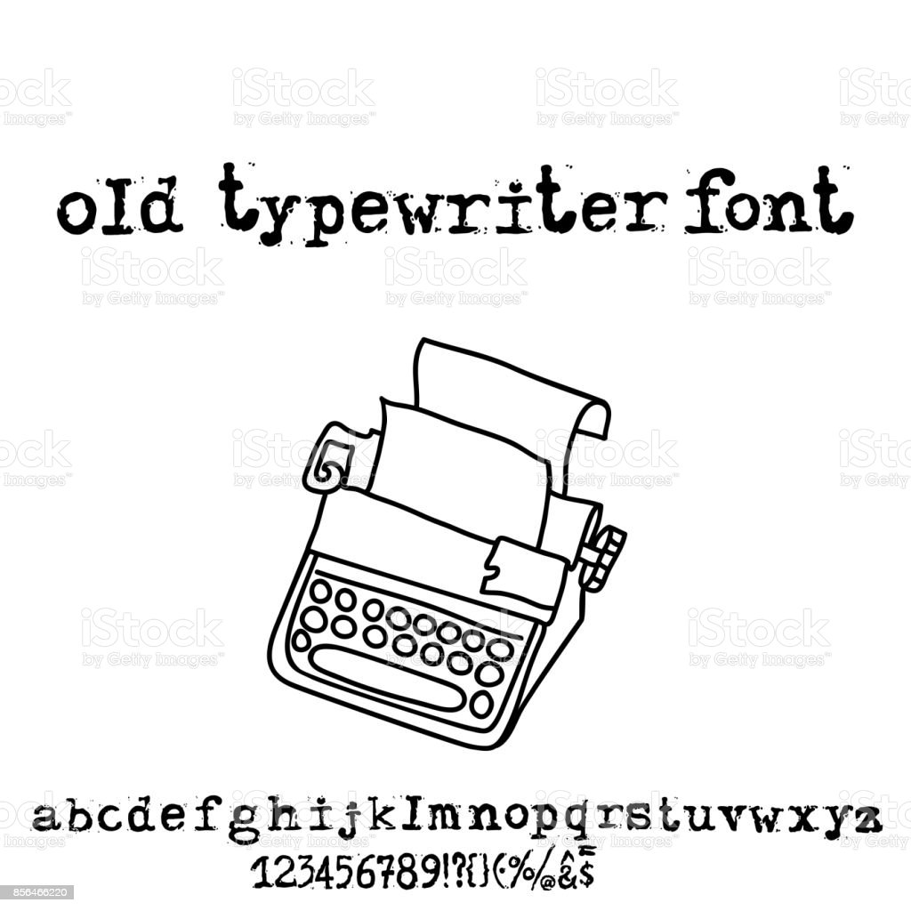 Vector Old Typewriter Font Vintage Grunge Letters Old Destroyed
