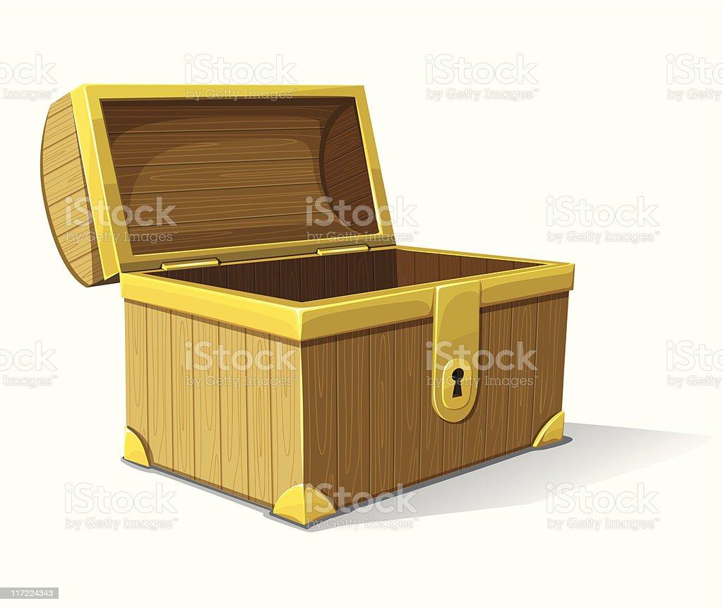 vector old wooden box opened vector art illustration