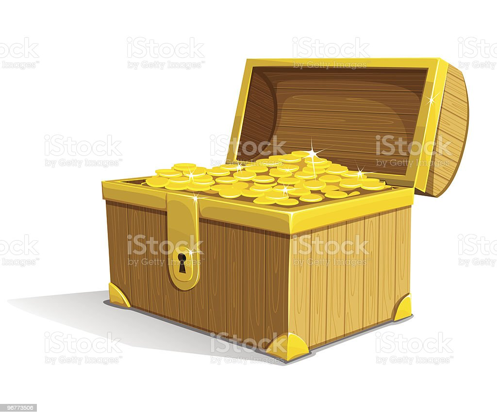 vector old wooden box with gold money royalty-free stock vector art