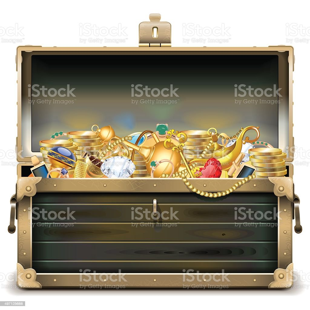 Vector Old Wooden Chest with Gold vector art illustration