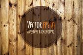 Vector old wooden panels. Natural dark wooden background.
