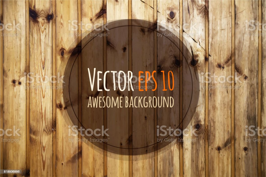 Vector old wooden panels. Natural wooden background vector art illustration