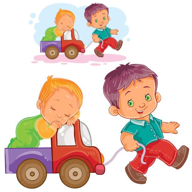 illustrations, cliparts, dessins animés et icônes de frère aîné de vecteur roule un jeune frère endormi en voiture - child car sleep