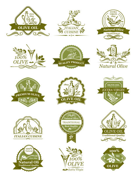 Vector olive icons of for organic olive oil Olive oil icons of green and black olives for extra virgin product bottle packing label templates vector isolated set. Italian cuisine best quality vector organic cooking oil drops and olive leaf olives stock illustrations