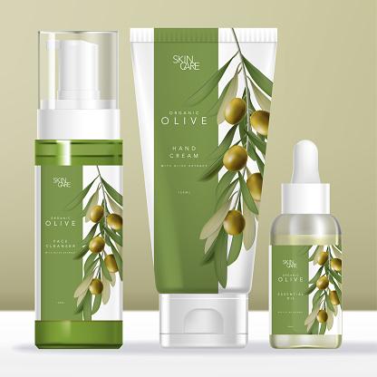 Vector Olive Oil Beauty Packaging Set with Transparent Foam Bottle,Glass Dropper Bottle & Tube. Olive illustration Printed.