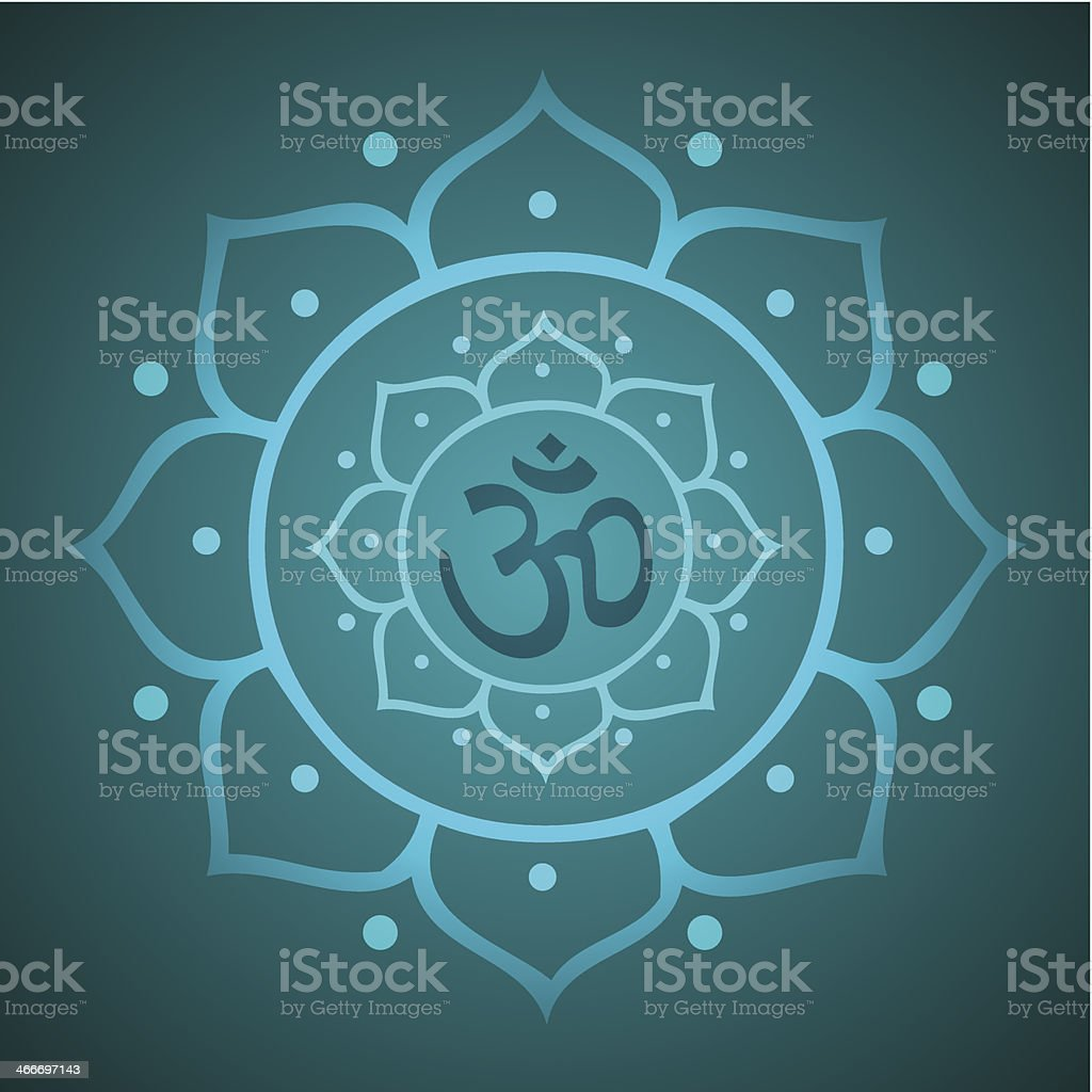 Vector Om Symbol with Lotus for Meditation Illustration
