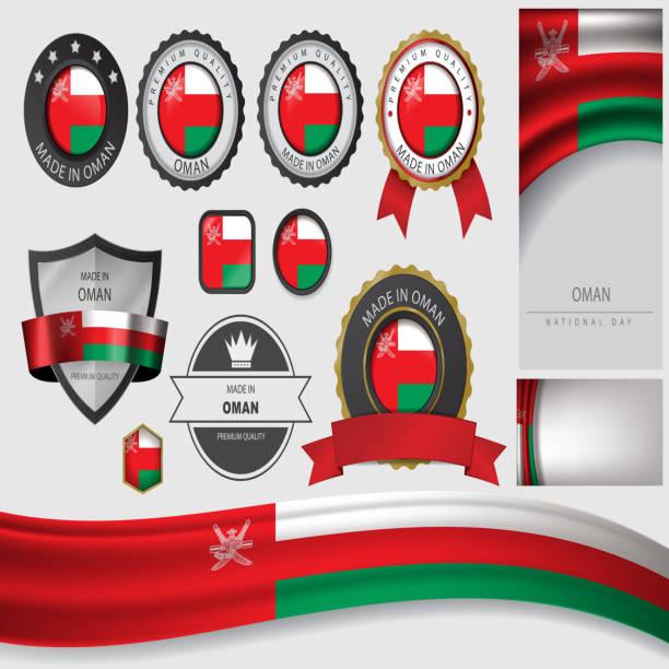 vector oman flag, sultanate oman colors (vector art) - oman stock illustrations