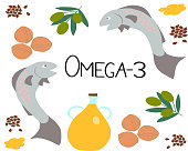 Vector Omega-3 products and the inscription omega-3 in the center. Polyunsaturated fatty acids in flax seeds, rapeseed oil, fish, olives, nuts. A healthy lifestyle concept. Great for healthy magazines and sites and in medical applications.