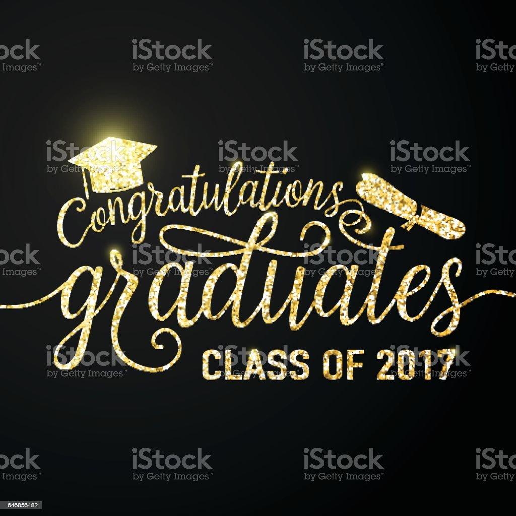 Vector en la clase de graduados 2017 graduaciones negro fondo Felicitaciones - ilustración de arte vectorial
