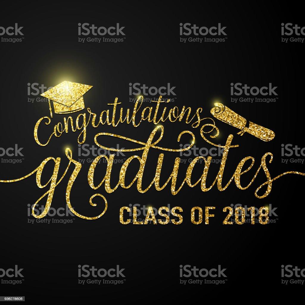 Vector en la clase de graduados 2018 graduaciones negro fondo Felicitaciones - ilustración de arte vectorial