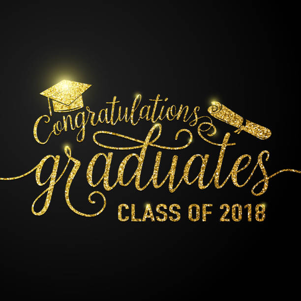 Vector on black graduations background congratulations graduates 2018 class Vector illustration on black graduations background congratulations graduates 2018 class of, glitter, glittering sign for the graduation party. Typography greeting, invitation card with diplomas, hat college dean stock illustrations