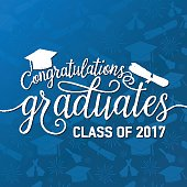 Vector on seamless graduations background congratulations graduates 2017 class
