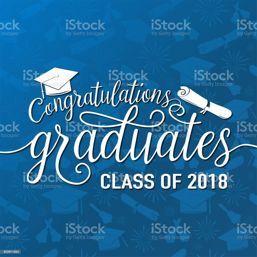 Vector on seamless graduations background congratulations graduates 2018 class vector art illustration