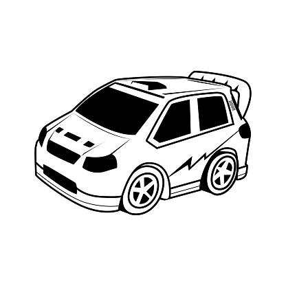 Auto Cartoon Vector Op Witte Achtergrond Stockvectorkunst en meer beelden van Aap