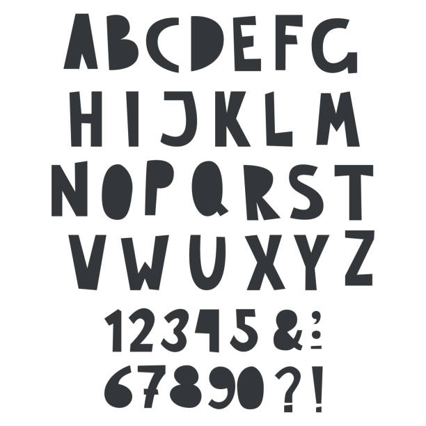 Vector one color fun alphabet with numbers for kid text Vector one color fun alphabet with numbers for kid text alphabet drawings stock illustrations