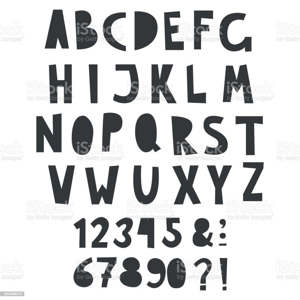 1 つの色のベクトル子供本文の数字とアルファベットを楽しい ベクターアートイラスト