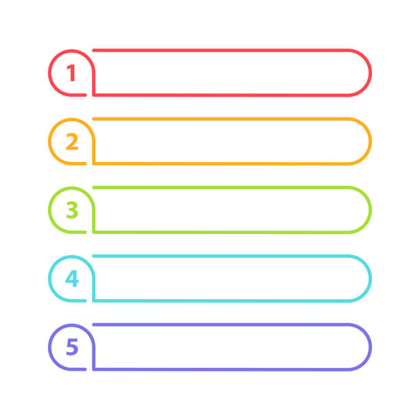 Vector One Two Three Four Five steps, progress or ranking banners with colorful tags. Vector One Two Three Four Five steps, progress or ranking banners with colorful tags. list stock illustrations