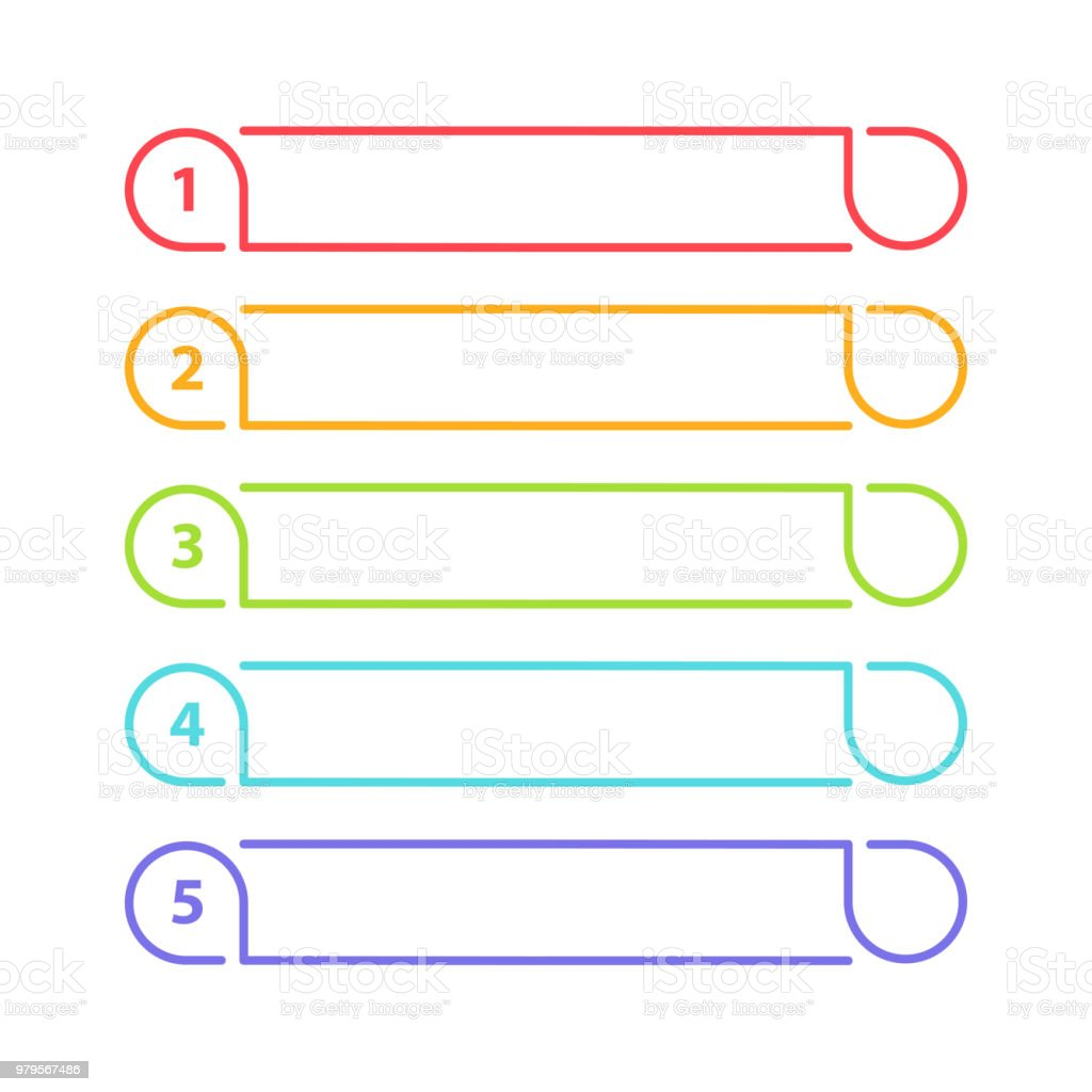 Vector One Two Three Four Five Steps Progress Or Ranking Banners