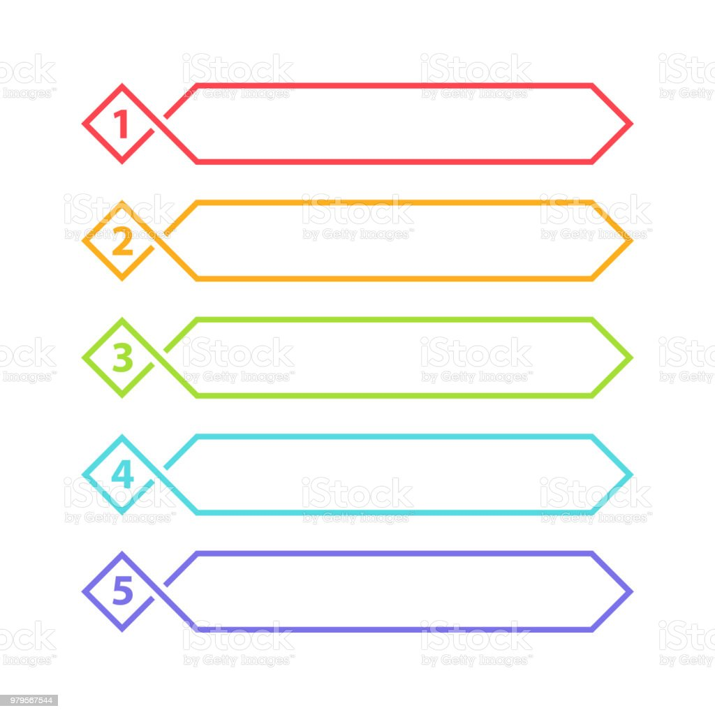 Vector One Two Three Four Five Steps Progress Or Ranking Banners With  Colorful Tags Stock Illustration - Download Image Now