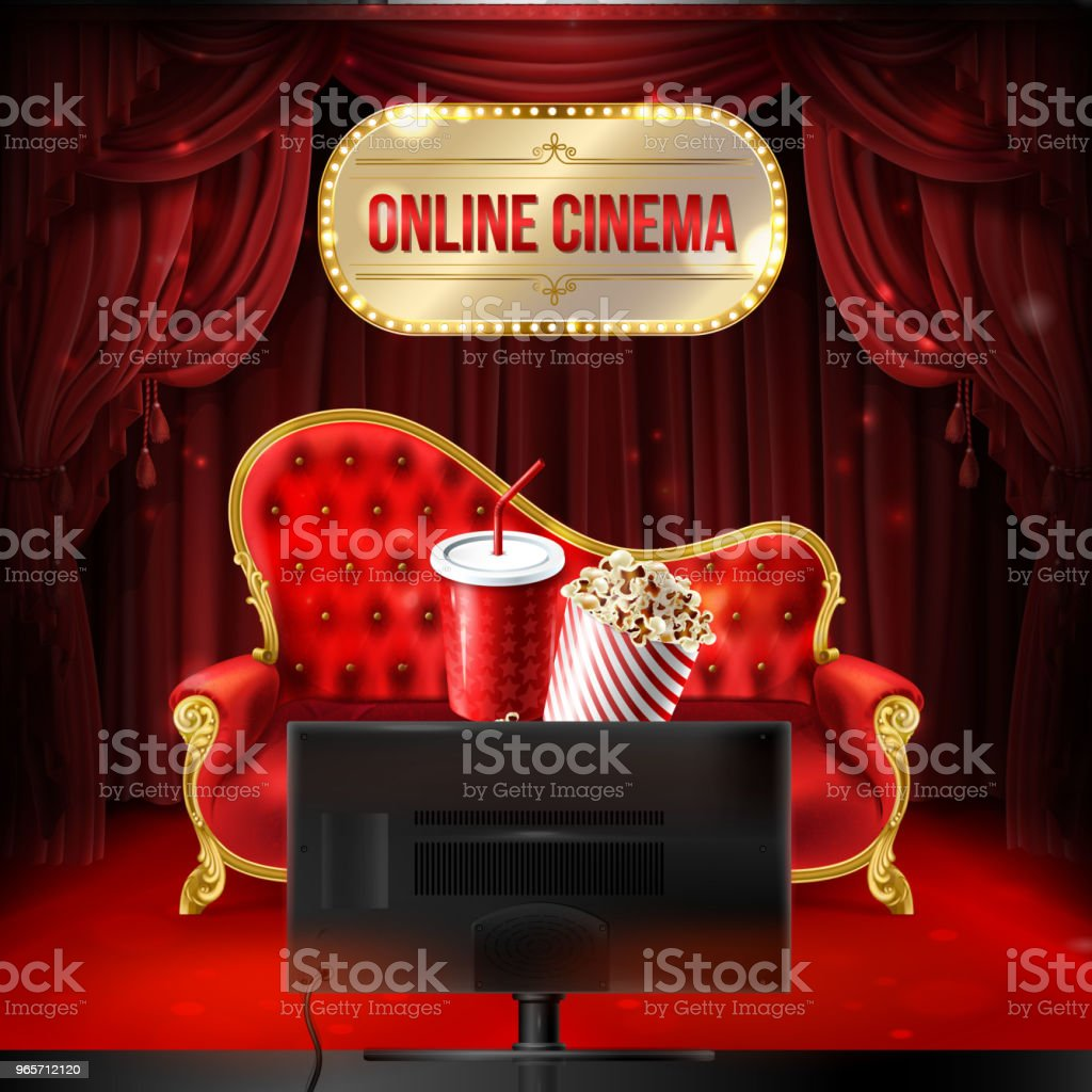 Vector online cinema concept, template, mock up - Royalty-free Arts Culture and Entertainment stock vector