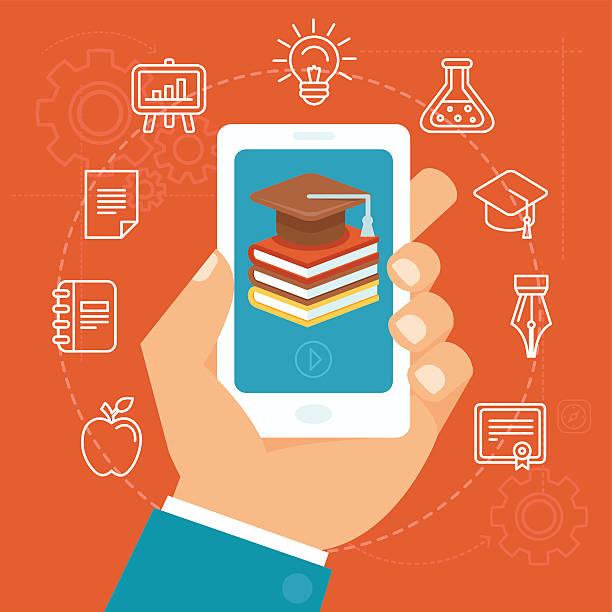 ilustrações de stock, clip art, desenhos animados e ícones de conceito de educação vector online - video call