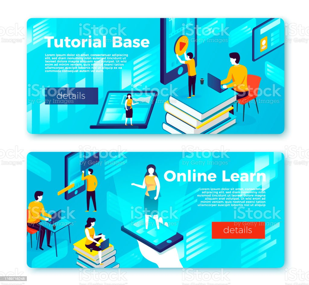 Vector Online Learning And Tutorial Base Banners Stock Illustration Download Image Now Istock