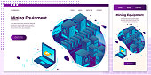 Vector cross platform illustration set, browser and mobile phone - cryptocurrency mining equipment generate money on laptop. ..Modern bright banner, site template with place for your text