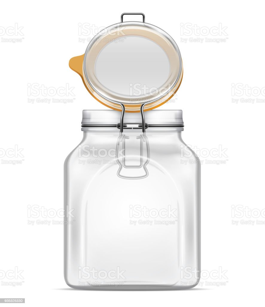 vector open bale square glass jar with swing top lid isolated on