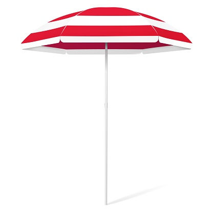 Vector open beach colorful umbrella - red and white