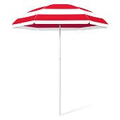 istock Vector open beach colorful umbrella - red and white 1263879134