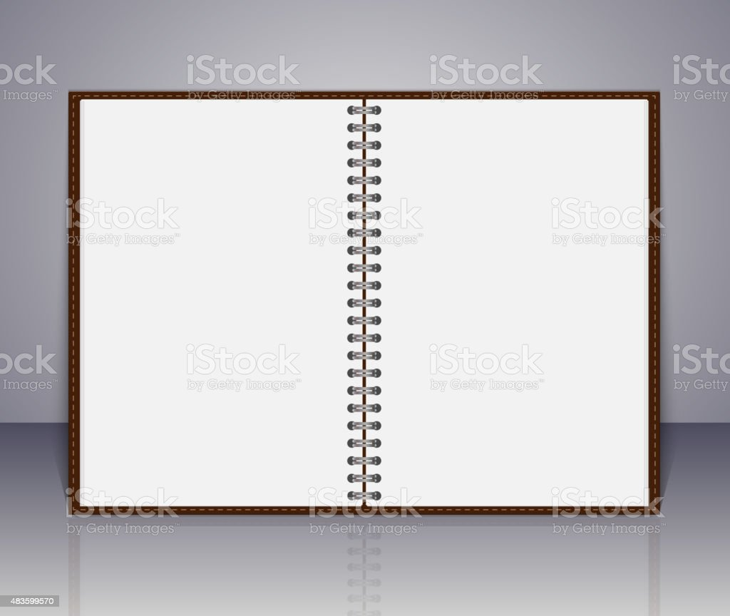 Vector open blank notebook and reminder note. vector art illustration