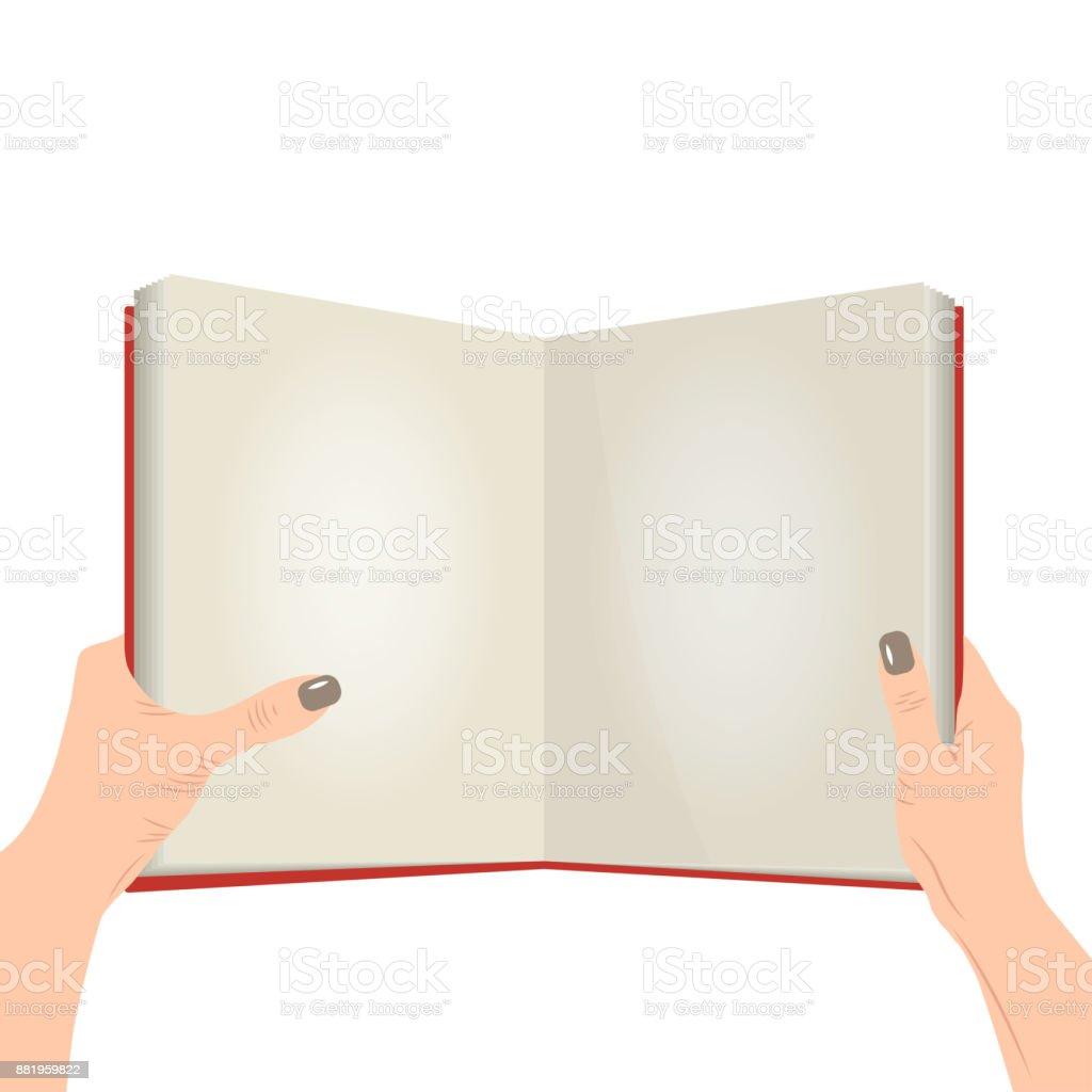 Vector open book in the hands vector art illustration